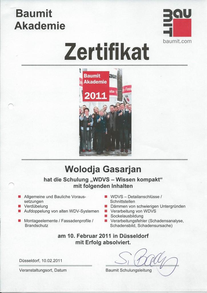 Zertifikat -WDVS